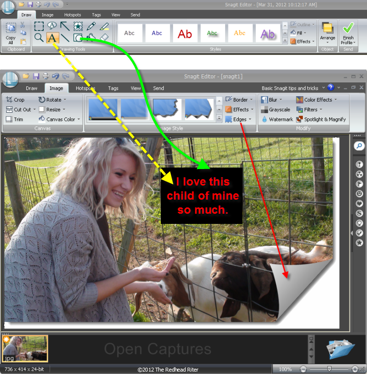 Snagit draw-text and shape, image-edges