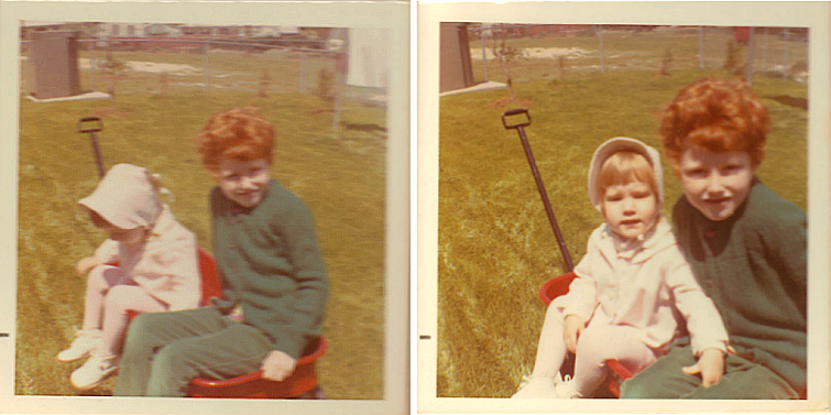 Audrey & The Redhead Riter in the little red wagon