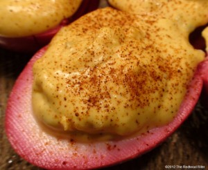 Fancy Deviled Eggs – Bright Beet Pickled Deviled Eggs