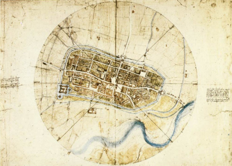 Town plan of Imola da Vinci