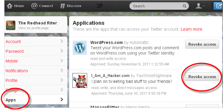 Twitter Account Apps Revoke Access
