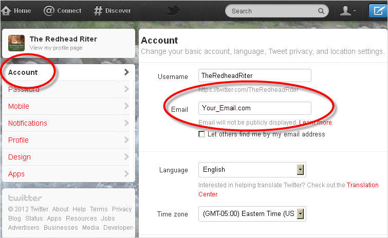 Twitter Account Settings Change Email