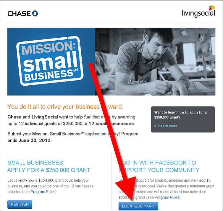chase livingsocial mission small business