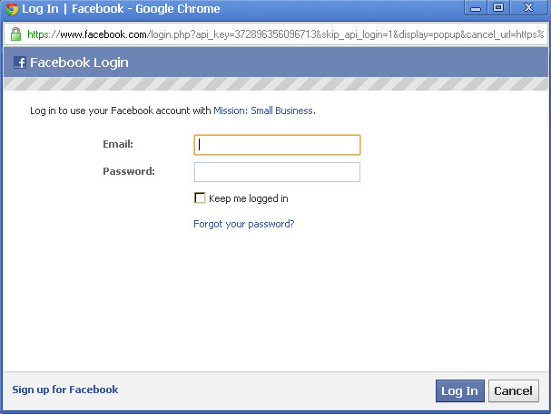 log in with facebook application
