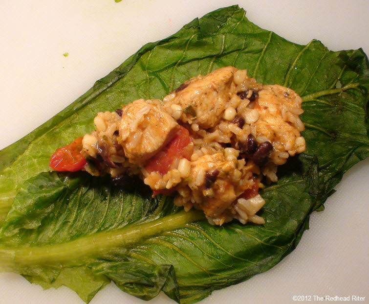 chicken mixture wrapped lettuce leaves 23