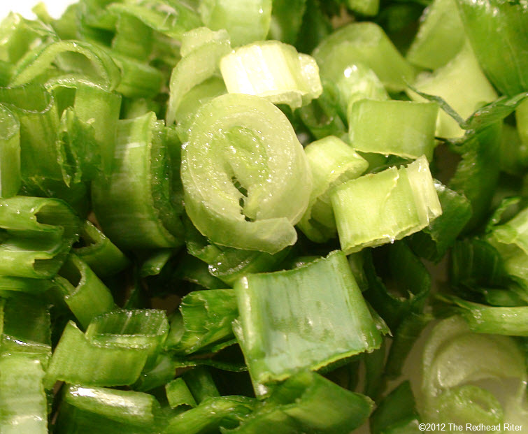 chopped green tops and onions 16