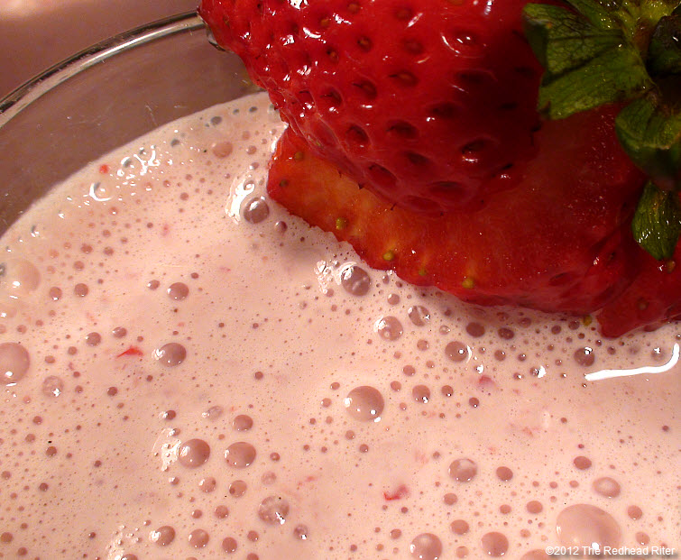 frothy strawberry milkshake is richly sweet