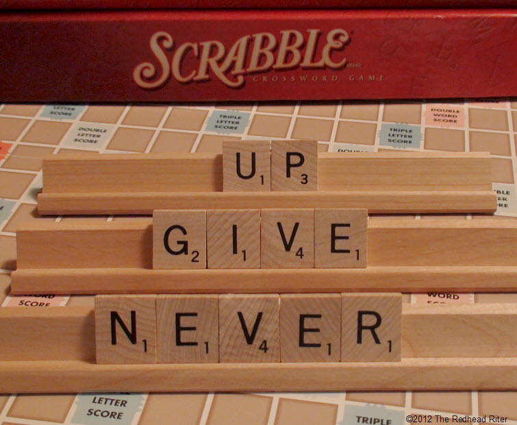 scrabbled message never give up