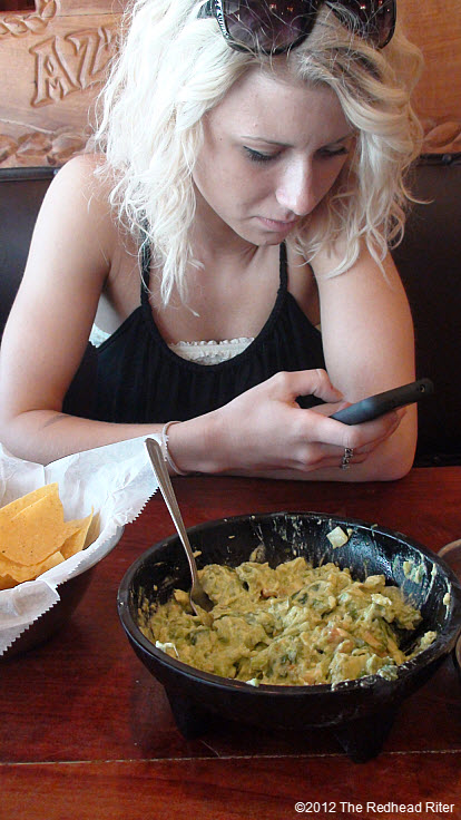 texting while waiting for lunch