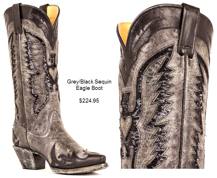 Grey Black Sequin Eagle Boot