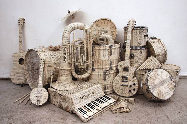 KyleBean Music manuscript covered instruments paper art