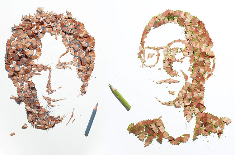 KyleBean Pencil shaving portraits art
