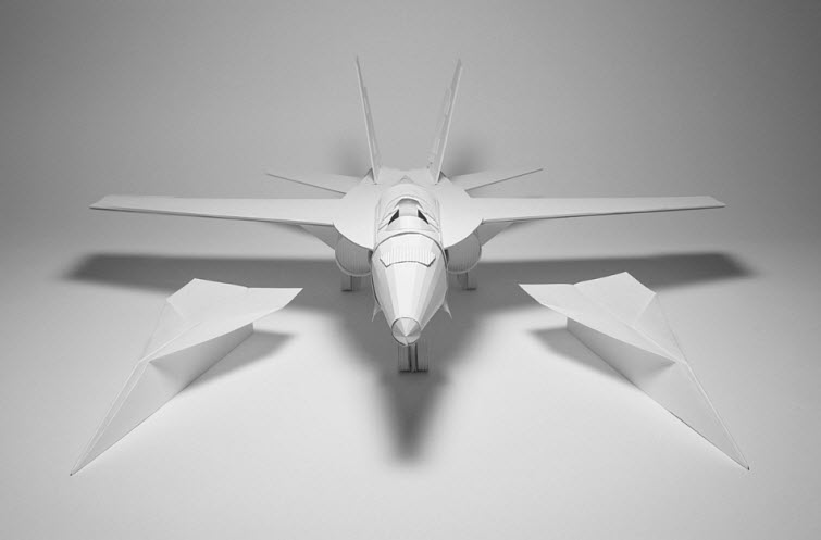 KyleBean White paper model fighter jet paper art