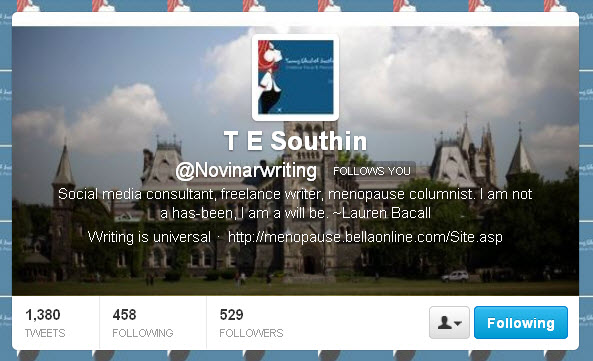 T E Southin @Novinawriting Twitter header