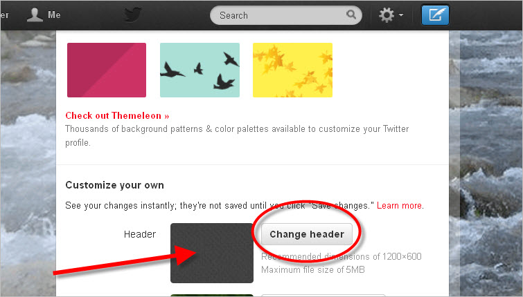 how to change header on twitter mobile