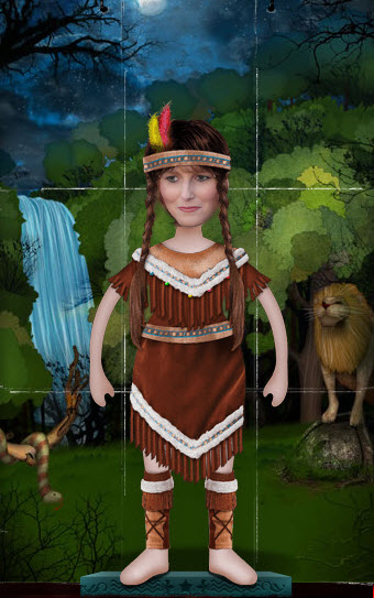 redhead riter Pocahontas Indian costume halloween