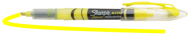 thin yellow sharpie highlighter marker