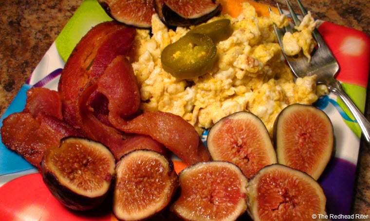 scrambled eggs bacon  figs peppers