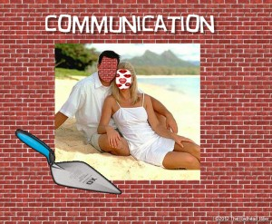 Communication Brick Wall Hearing Or Blabbing Lips