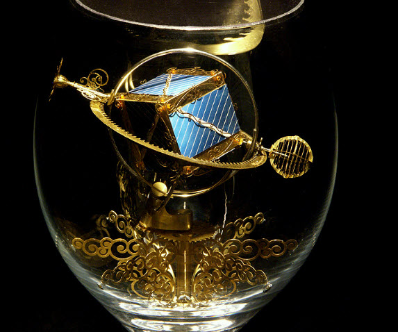 Syzmon Klimek Artist Miniature Mechanical Creations In Wine Glasses 1