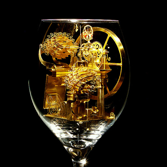 Syzmon Klimek Artist Miniature Mechanical Creations In Wine Glasses 3