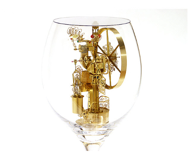 Syzmon Klimek Artist Miniature Mechanical Creations In Wine Glasses 4
