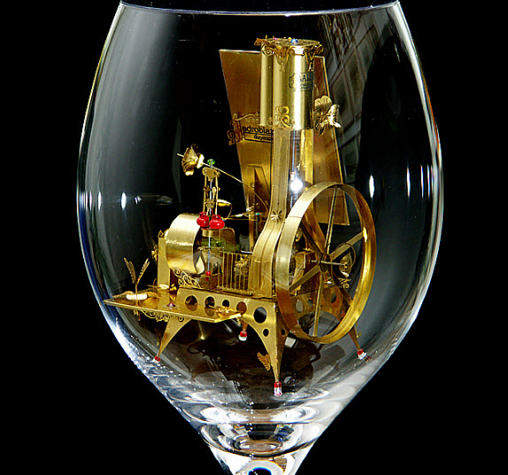 Syzmon Klimek Artist Miniature Mechanical Creations In Wine Glasses 5