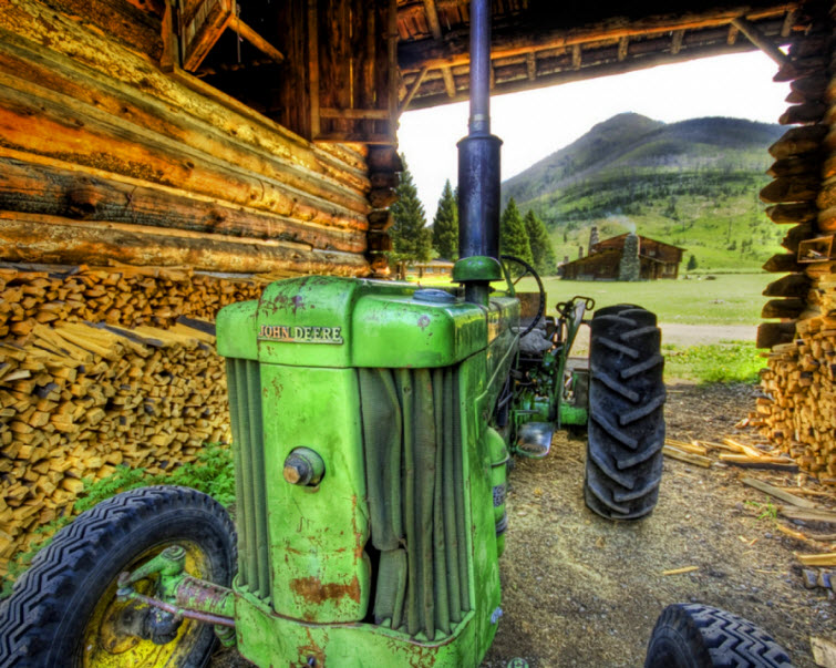 big green john deere tractor