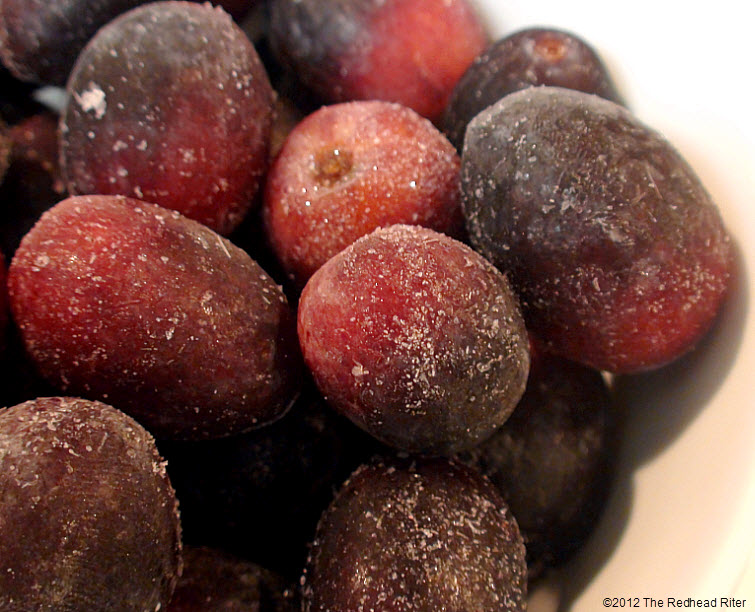 frozen seedless black grapes icy