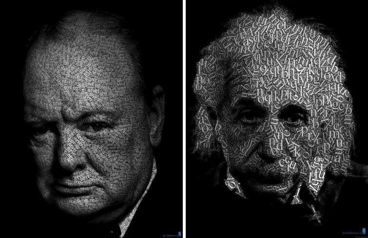 churchill & einstein word art juan osborne