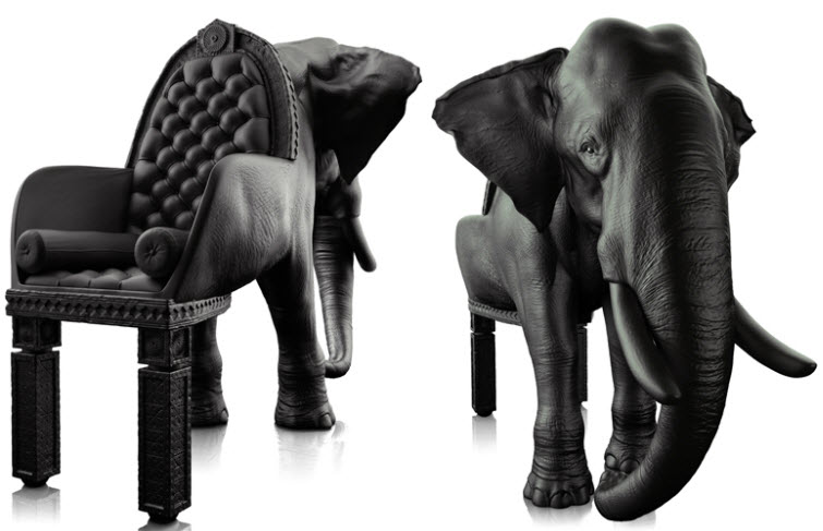Maximo Riera Animal Furniture elephant black
