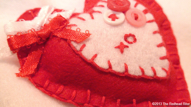 felt embroidery heart red white