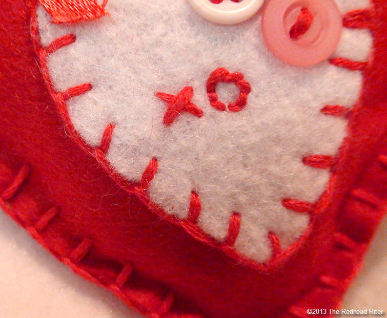 felt embroidery heart x and o