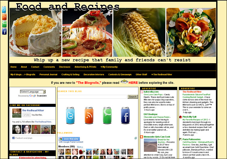 food and recipes blog blogroll