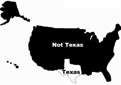 US map Texas Not Texas