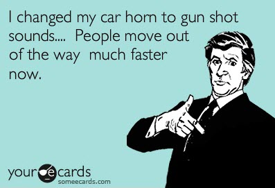 humor car horn gun shots