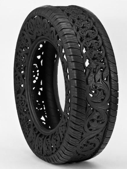 engraved rubber tires Wim Delvoye 3