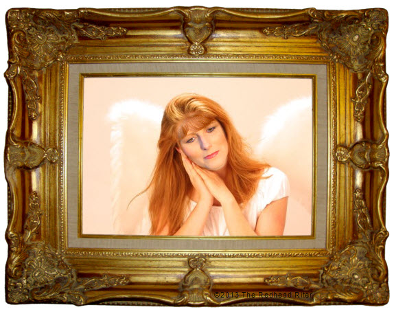 redhead riter angel with wings