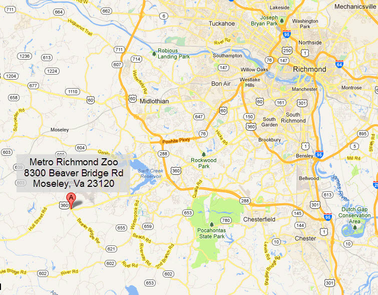 Map Virginia Metro Richmond Zoo