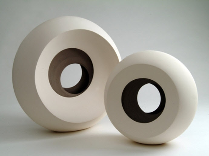 Ceramic Sculptures, Matthew Chambers, 2 Eclipse forms. 2Face series 2005. 37cm H (max)