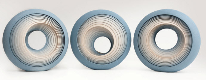 Ceramic Sculptures, Matthew Chambers, 3 'Eclipse' forms 2Face Series 2012. 33cm H each