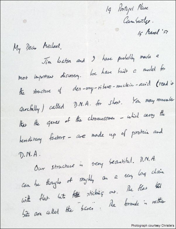 Francis Crick DNA Discovery Letter pg 1