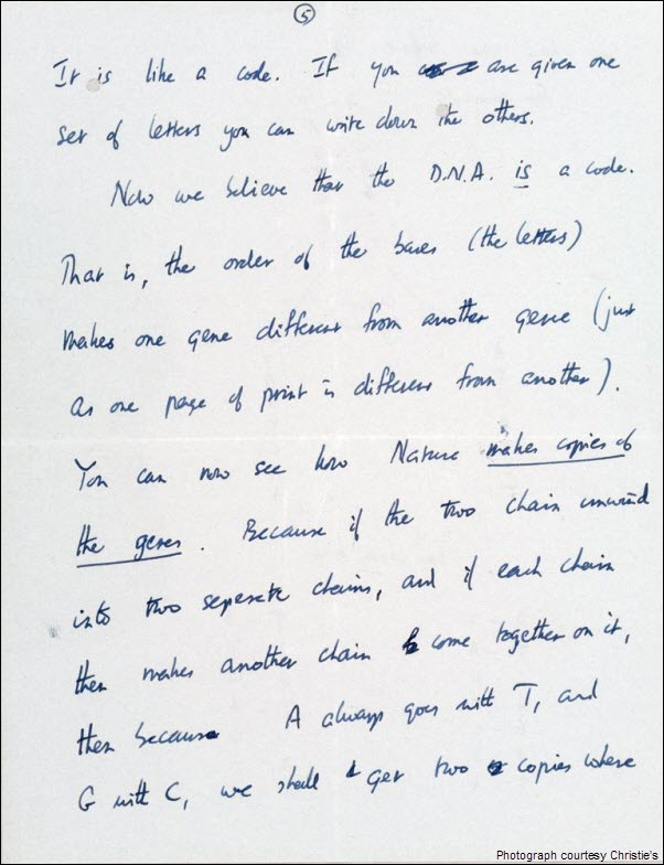 Francis Crick DNA Discovery Letter pg 5