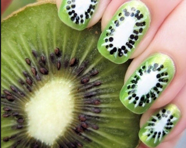 fingernail humor art kiwi fruit slices