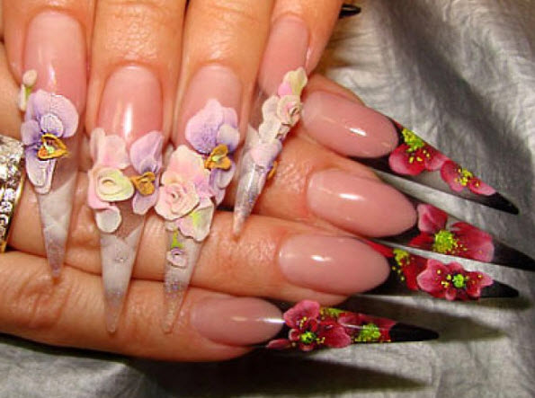 fingernail humor art two pointed floral weapon