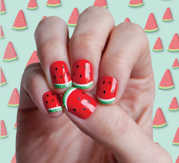 fingernail humor art watermelon picnic