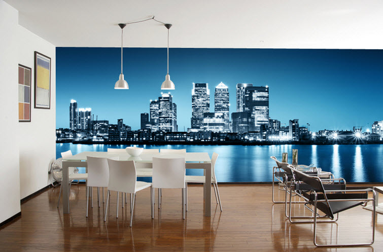 city scape dining room Eazy Wallz wall photo