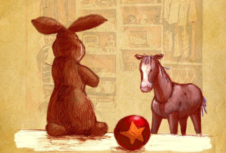 velveteen rabbit and skin horse discussing REAL