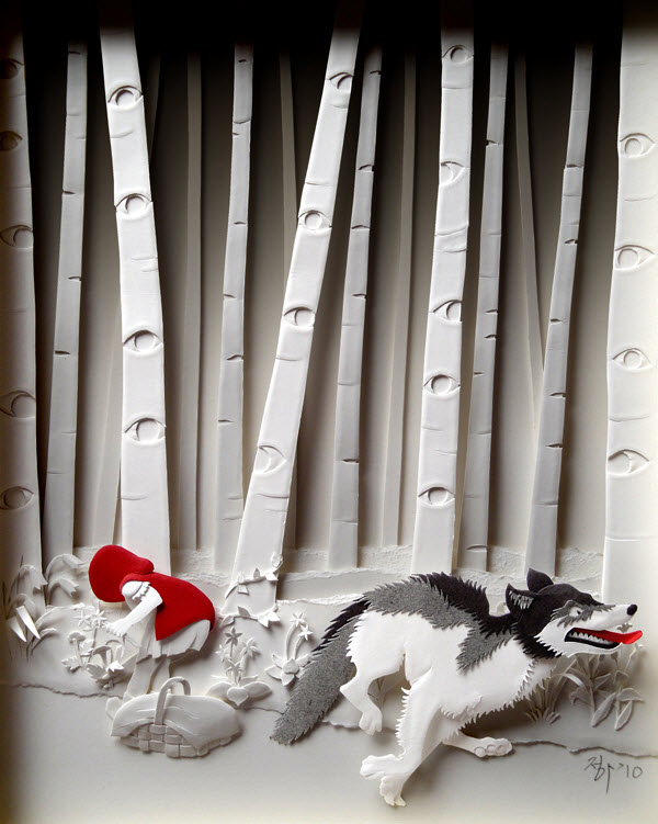 Cheong-ah Hwang's Paper Art Sculptures red riding hood