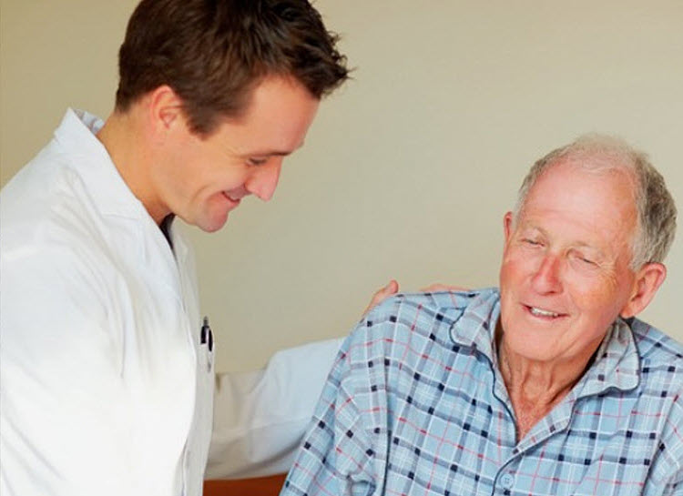 doctor and old elderly man
